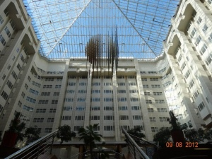 View of the lobby of the Hilton in Prague.