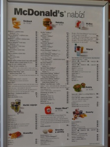 McDonald's menu from a rest stop on the outskirts of Prague, Czech Republic.