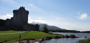 Ross Castle, with the Macgillicuddy Reeks in the background, near Killarney, Ireland.