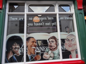 Pub window in Dublin, Ireland.
