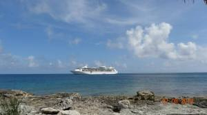 Our ship, moored off the coast of Coco Cay